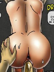 Bigboobed gagballed blonde babe gets both her holes plowed by cruel blac guy while in bondage.