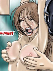 Curly hair cartoon brunette gets her love holes drilled hard while in bondage.